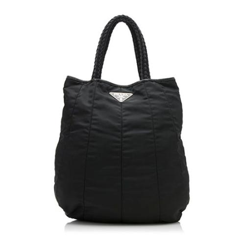 Prada Paneled Tessuto Braided Handle Tote