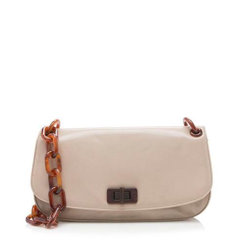 Prada Patent Leather Madras Turnlock Chain Strap Shoulder Bag