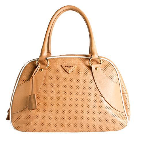 Prada Perforated Saffiano Bowler Satchel Handbag