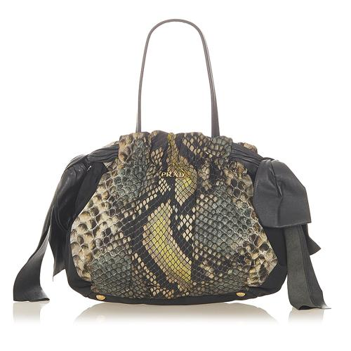 Prada Pitone Bow Tote Bag