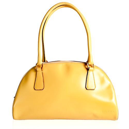 Prada Polished Leather Bowling Satchel Handbag