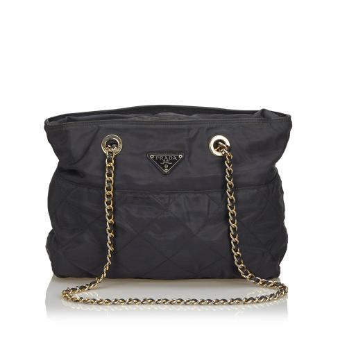 Prada Quilted Nylon Chain Tote Bag