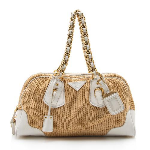 Prada Raffia Chain Shoulder Bag