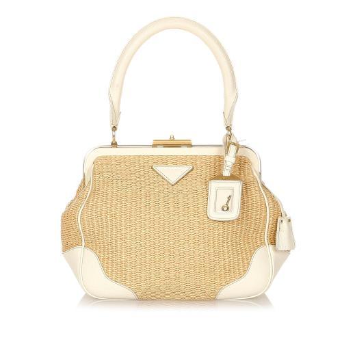 Prada Raffia Frame Shoulder Bag