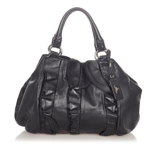 Prada Ruffled Leather Tote Bag