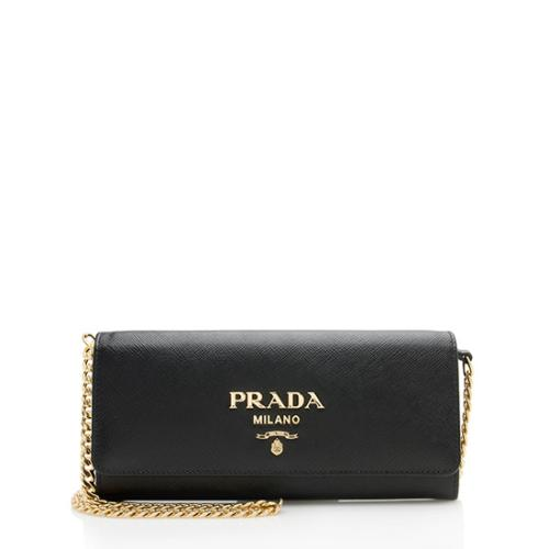Prada Saffiano Leather Chain Handle Clutch