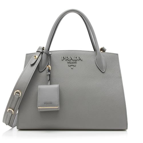 Prada Saffiano Cuir Medium Monochrome Top Handle Bag