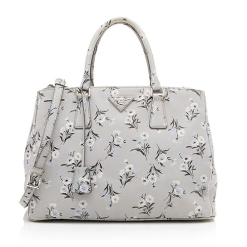 Prada Saffiano Leather Floral Medium Double Zip Tote - FINAL SALE