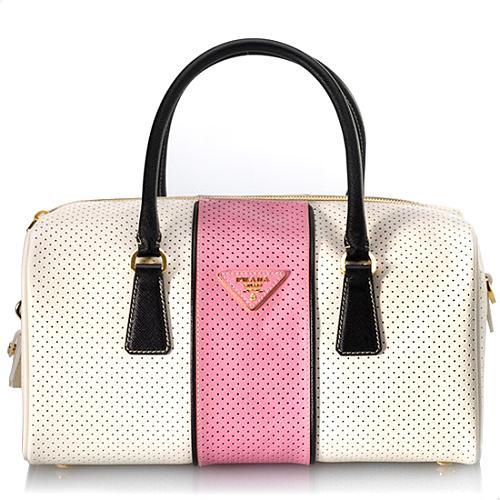 Prada Saffiano Fori Boston Satchel Handbag