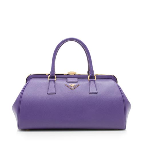 Prada Saffiano Framed Doctor Bag Satchel