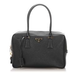 Prada Saffiano Leather Bauletto Handbag