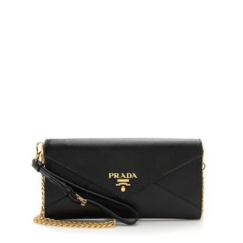 Prada Saffiano Leather Envelope Chain Wallet Shoulder Bag