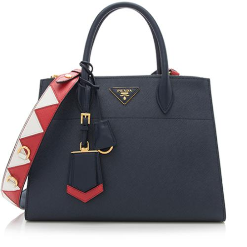 Prada Saffiano Leather Greca Paradigm Medium Tote