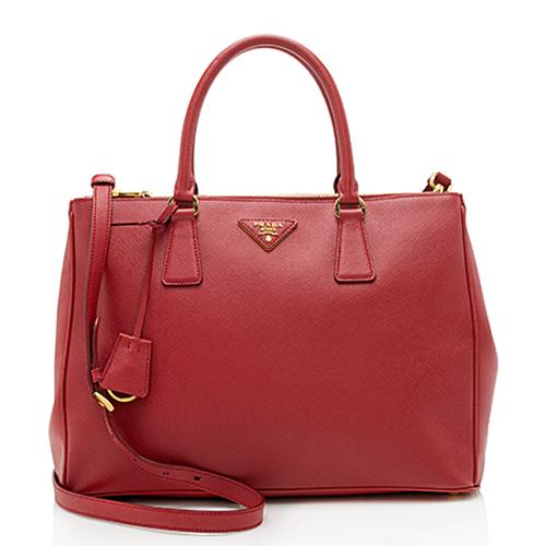 Prada Saffiano Leather Lux Double-Zip Medium Tote