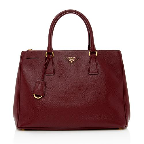 Prada Saffiano Leather Lux Double-Zip Medium Tote