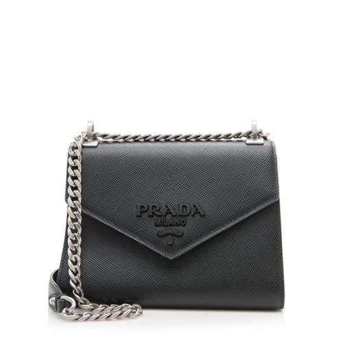 Prada Saffiano Leather Monochrome Chain Shoulder Bag