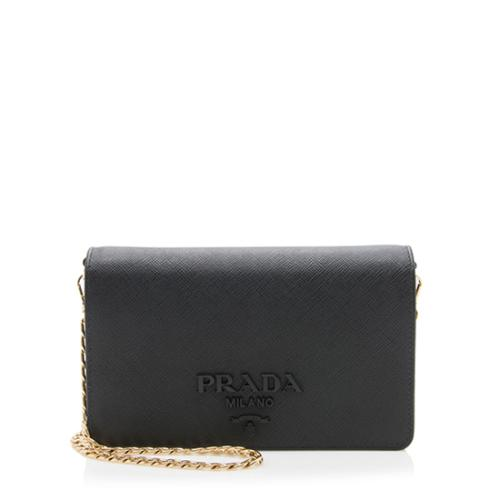 Prada Saffiano Leather Monochrome Small Crossbody Bag