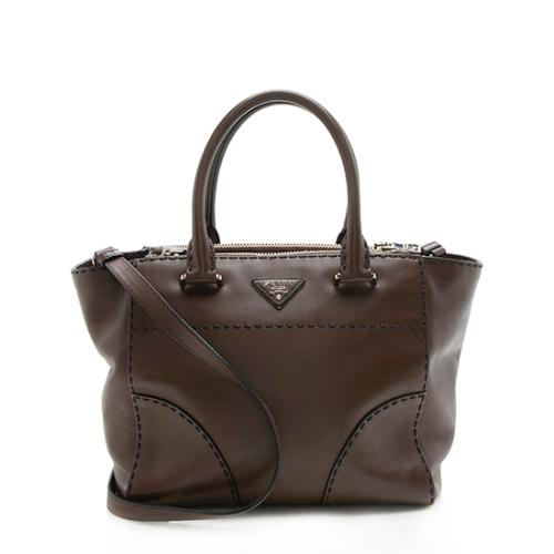 Prada Saffiano Leather Stitched City Small Tote