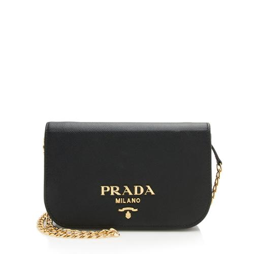 Prada Saffiano Lux Leather Chain Bandoliera Crossbody Bag