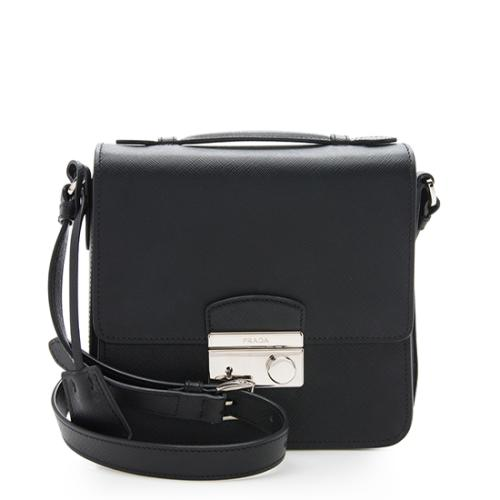 Prada Saffiano Lux Pushlock Crossbody Bag