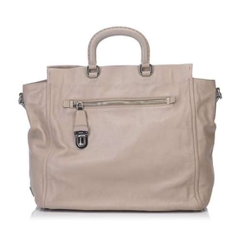 Prada Leather Pushlock Top Handle Tote