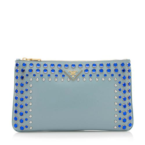 Prada Saffiano Vernice Jeweled Clutch