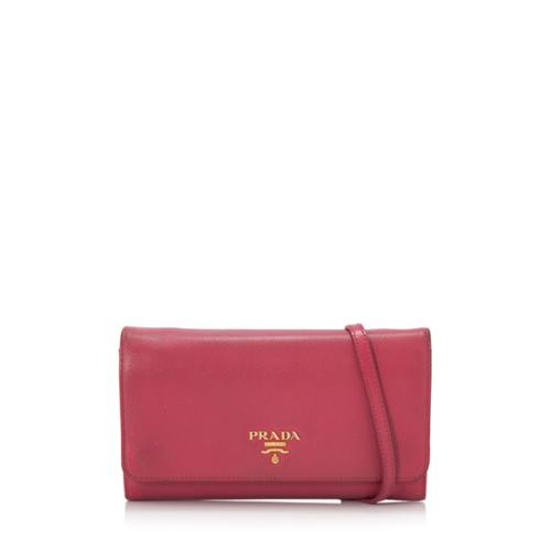 Prada Saffiano Leather Leather Wallet Mini Crossbody Bag
