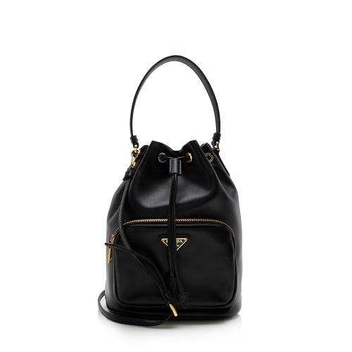 Prada Soft Calf Saffiano Leather Mini Bucket Bag