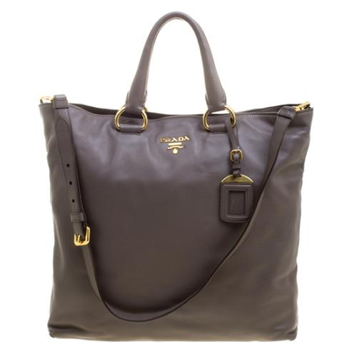 Prada Soft Leather Large Shopping Tote