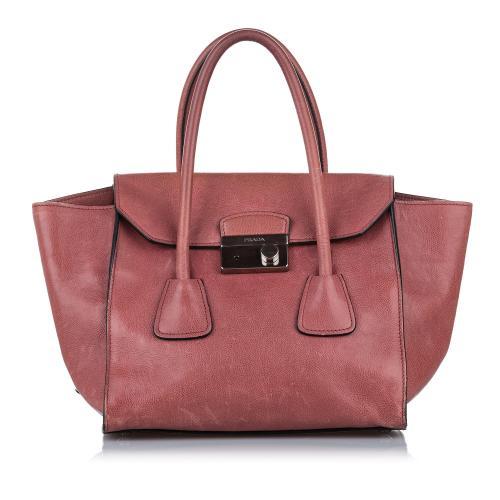 Prada Sound Lock Leather Handbag