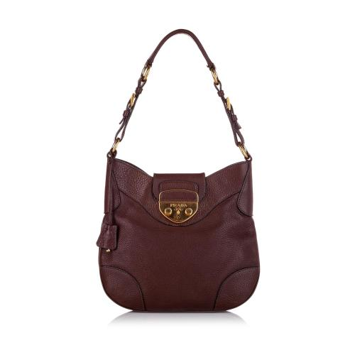 Prada Sound Lock Leather Hobo Bag