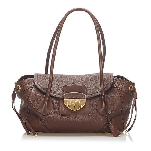 Prada Sound Lock Leather Shoulder Bag