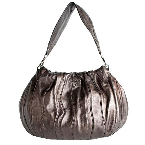 Prada Striped Nappa Hobo Handbag