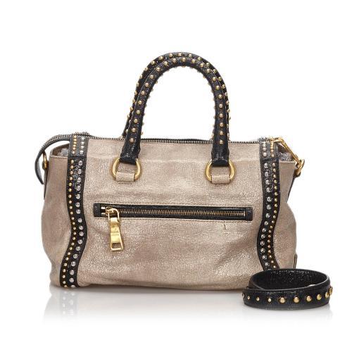 Prada Studded Leather Craquele Satchel