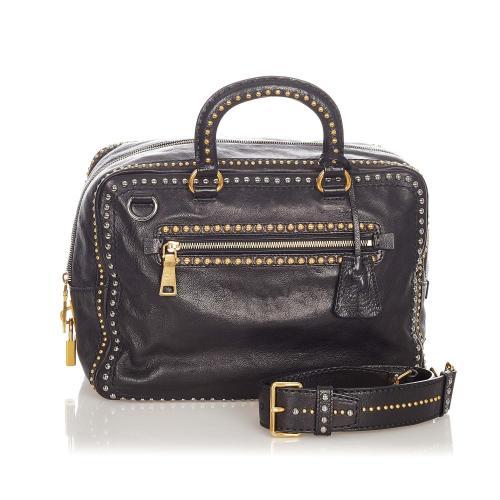 Prada Studded Leather Satchel