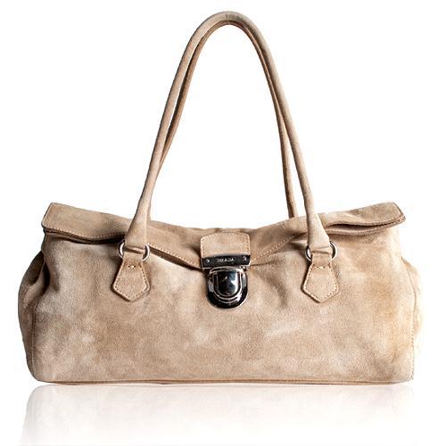 Prada Suede Easy Satchel Handbag