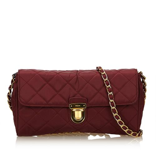 Prada Quilted Tessuto Chain Crossbody Bag