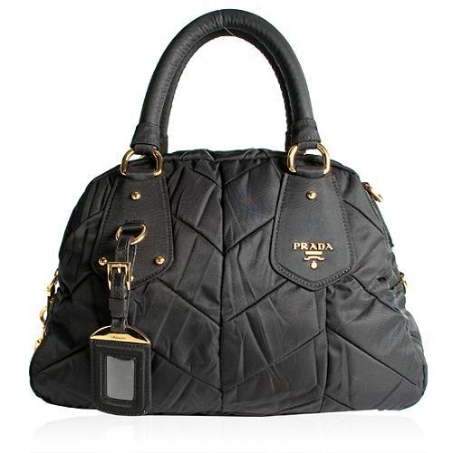 Prada Tessuto Chevron Quilted Dome Satchel Handbag