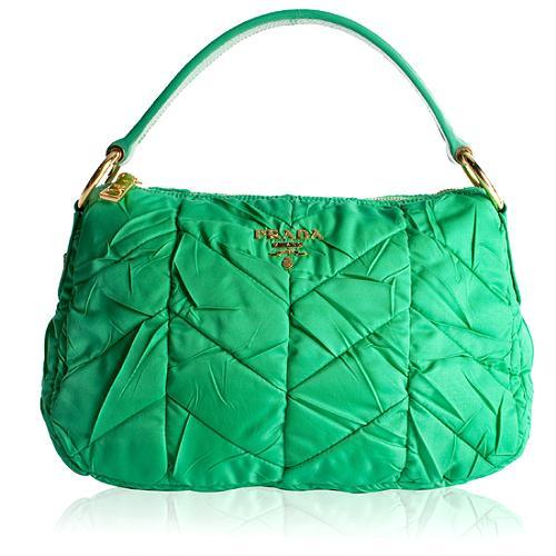 Prada Tessuto Chevron Quilted Hobo Handbag