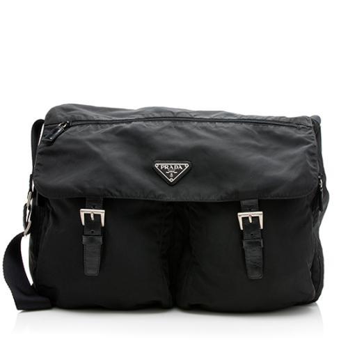 Prada Tessuto Double Buckle Large Messenger Bag