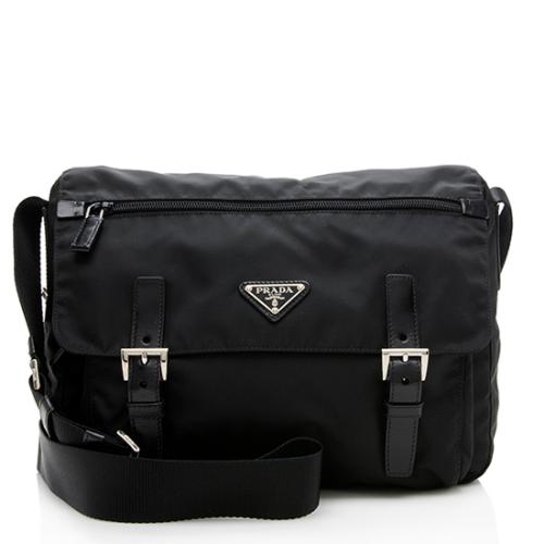Prada Tessuto Double Buckle Messenger Bag