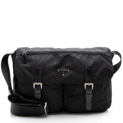 Prada Tessuto Double Buckle Messenger Bag