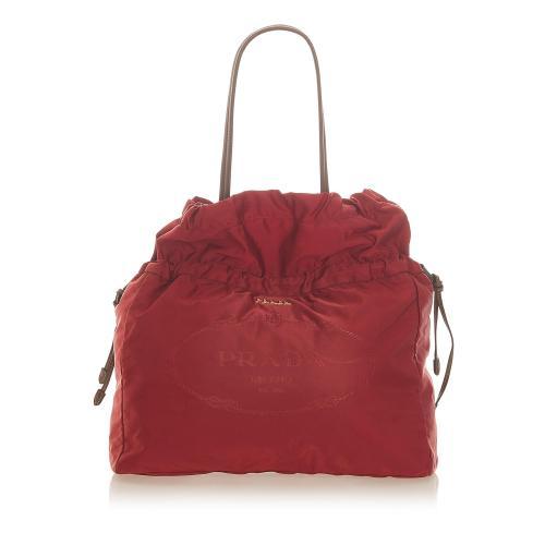 Prada Tessuto Drawstring Shopper Tote Bag