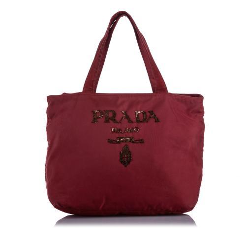 Prada Tessuto Embellished Tote Bag