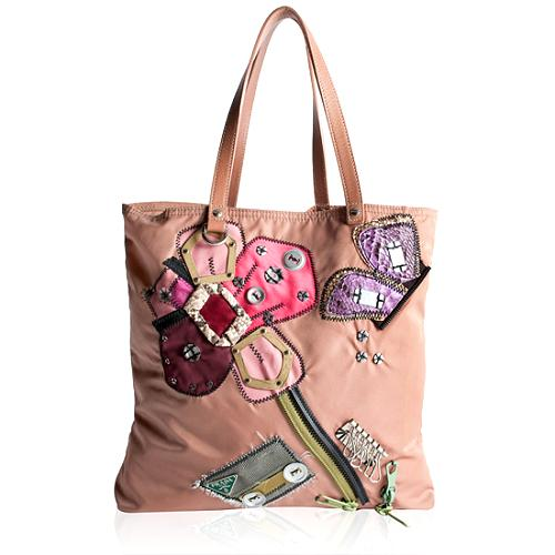 Prada Tessuto Flower Applique Tote