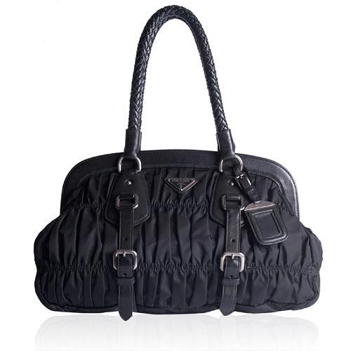 Prada Tessuto Gaufre Framed Satchel Handbag