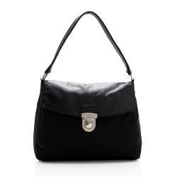 Prada Tessuto Leather Pushlock Shoulder Bag