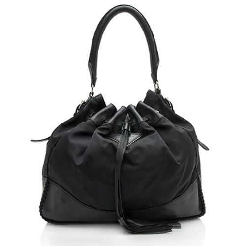 Prada Tessuto Leather Tassel Hobo