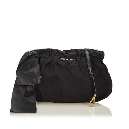 Prada Tessuto Logo Bow Crossbody Bag