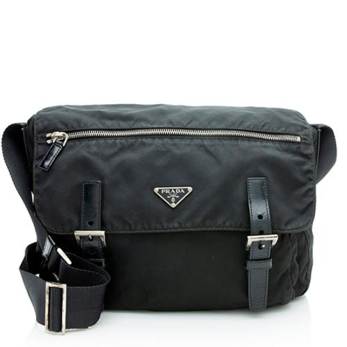 510b364e9ea4 Prada Vela Buckled Messenger Bag